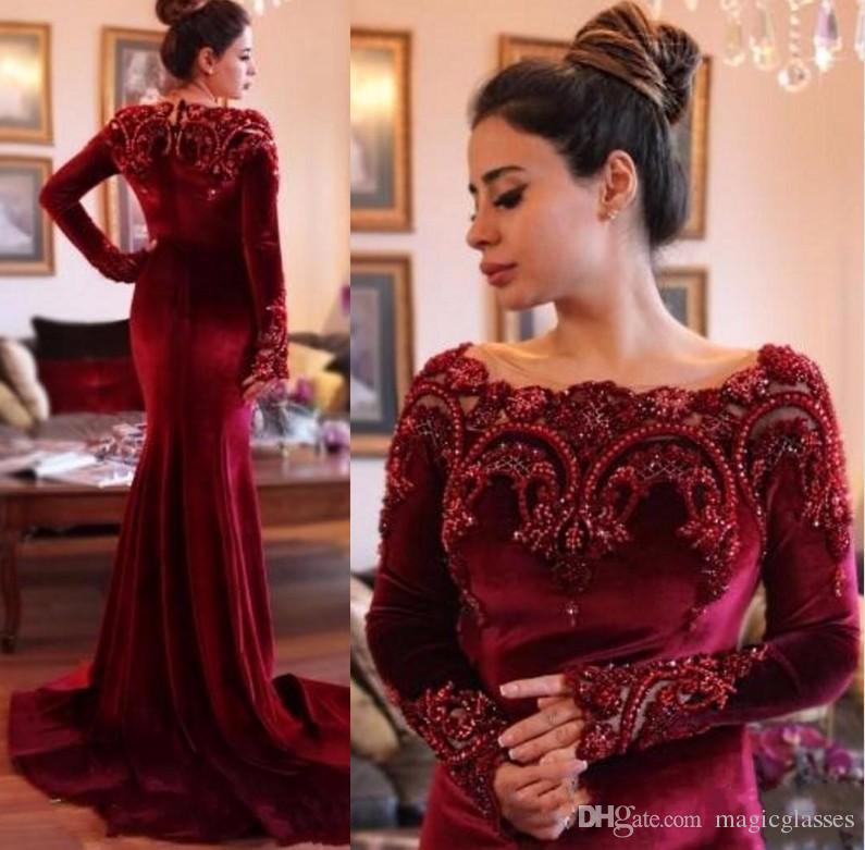 Velvet Lace Evening Dresses Sale