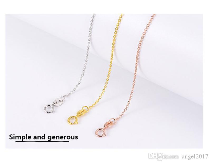 Серебряная цепь цепи ключицы сеть S925 стерлинговое серебро ожерелье женские мужские золотые розовые золотые орнаменты 18K золото o цепочка слова оптом