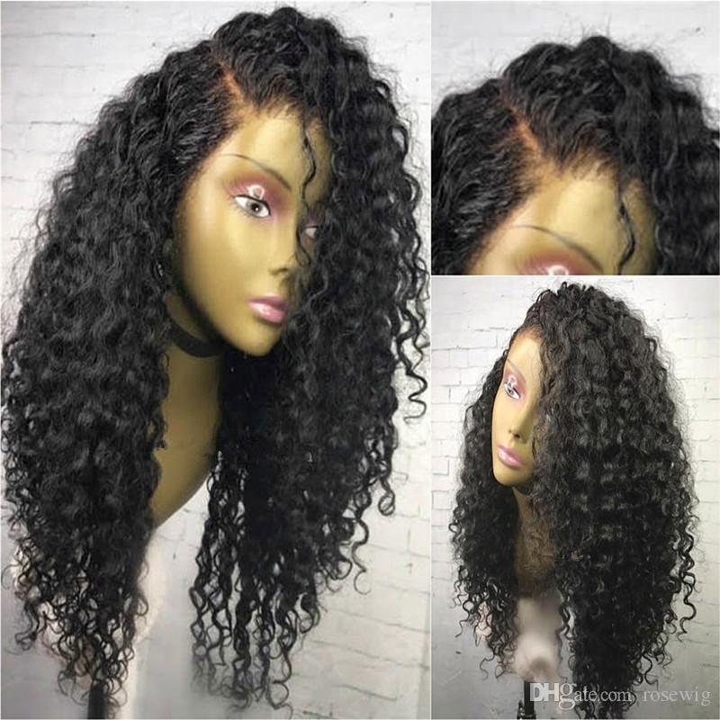 جودة عالية يشبع الانسان الشعر الباروكات البرازيلي العذراء الشعر مجعد الرباط الجبهة الباروكات مع شعر الطفل غلويليس كامل الرباط الباروكات