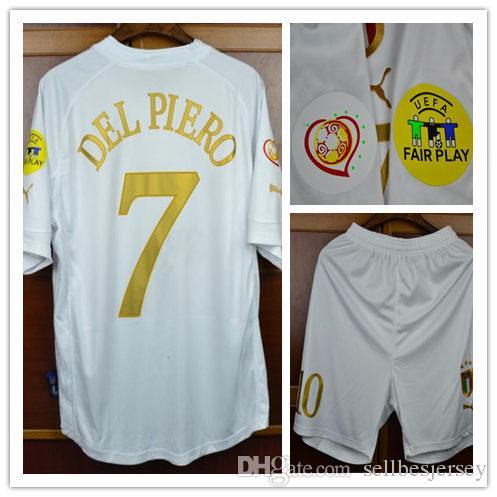 0b305f7c686 Retro 2004 Italy Away White Jerseys Del Piero Pirlo  Totti  R.baggio ...