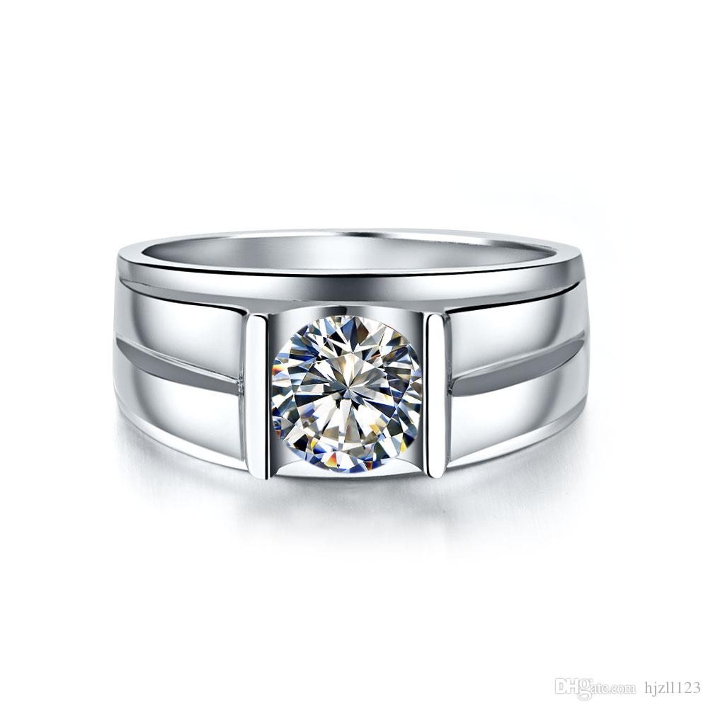 Brief Man rings solid silver 18K white gold plated man ring 1 CT Wedding rings synthetic Diamond rings for man