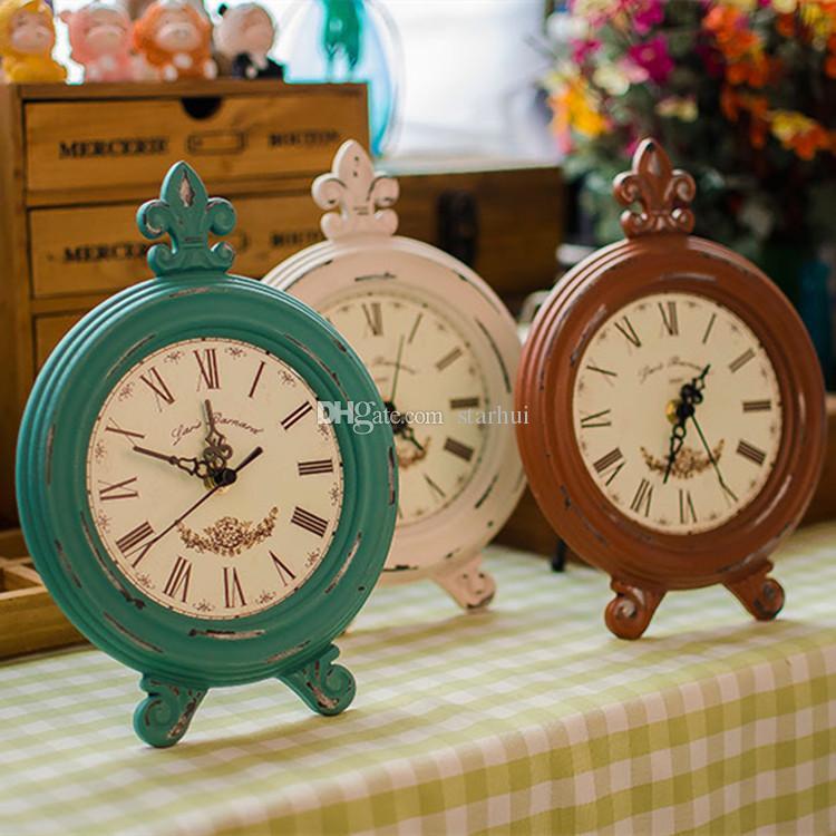 Vintage Ahşap Yuvarlak Oval Saat Moda Ev Oturma Odası Yatak Odası Dekor 8 Renk Masa Saati Ücretsiz Kargo WX9-42