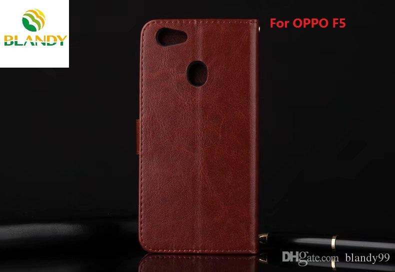 For OPPO F3 Crazy horse wallet leather PU phone cover Case photo frame for  oppo R11 plus R9s plus