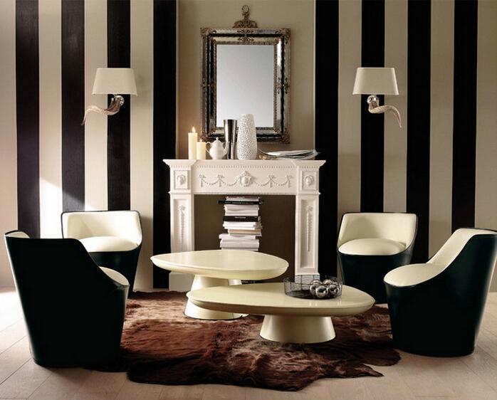 Wholesale Pvc 10m Roll Waterproof Wallpaper Modern Black White Brown