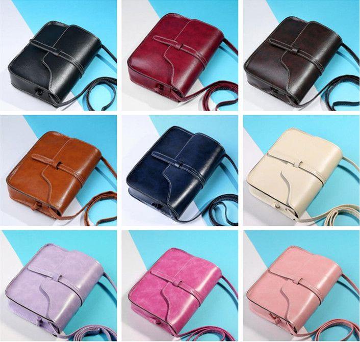 Basit Tasarım Moda Kadınlar Omuz Çantası Çapraz Vücut Çanta Bayan Kız Vintage PU Deri Moda Çanta 9 renkler