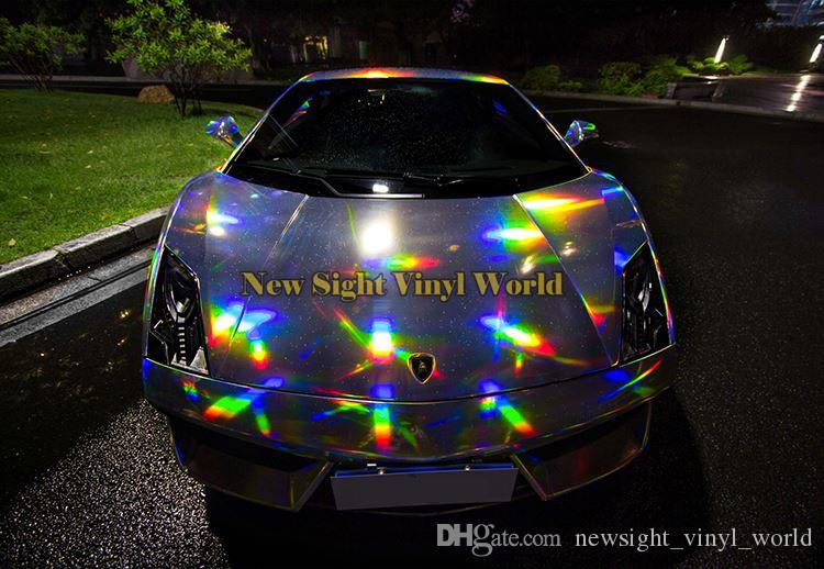 Laser iridescente Cromo Prata Envoltório De Vinil Folha Holográfica Caleidoscópio Car Corpo Filme Bolha Livre Etiqueta Do Carro