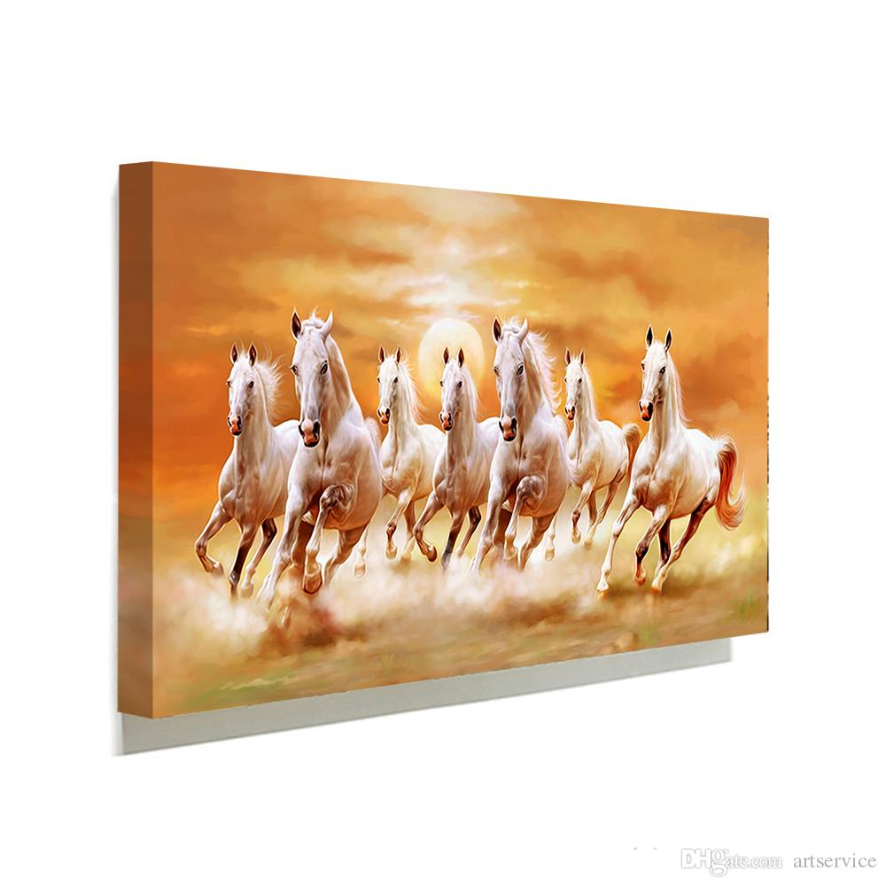 Famous White Horse Running Picture Canvas Painting Home Wall Art Picture  For Living Room Unique Gift Part 94