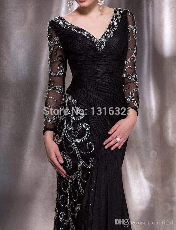 2017 Mother of the Bride Dresses Elegant Black V Neck Long Sleeve Mermaid Sequins Crystal Beading Chiffon Long Prom Gown Vestido