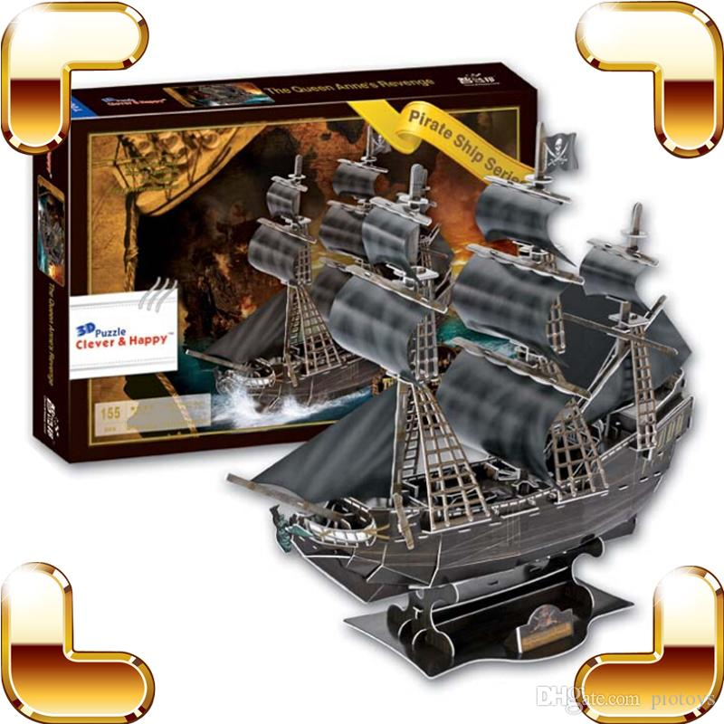 New Year Gift Ship Series The Black Pearl Pirate Ship 3D Puzzles Boat Model Puzzle Classic Vessel DIY Toys