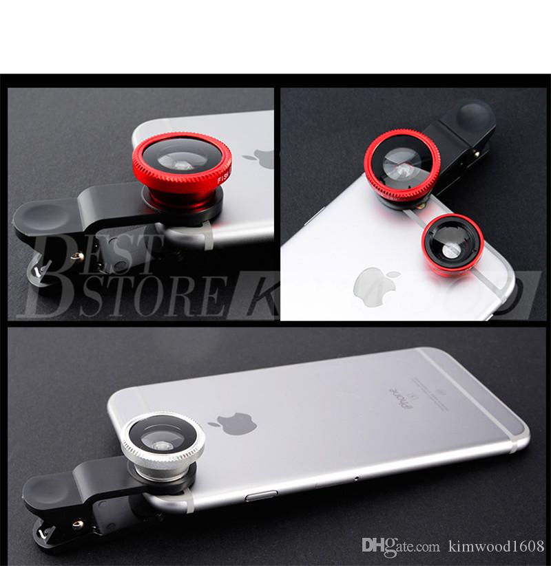3 in 1 Universal Clip Fish Eye Lens Wide Angle Macro Lens Mobile Phone Camera Glass Fisheye Lens For iPhone DHL