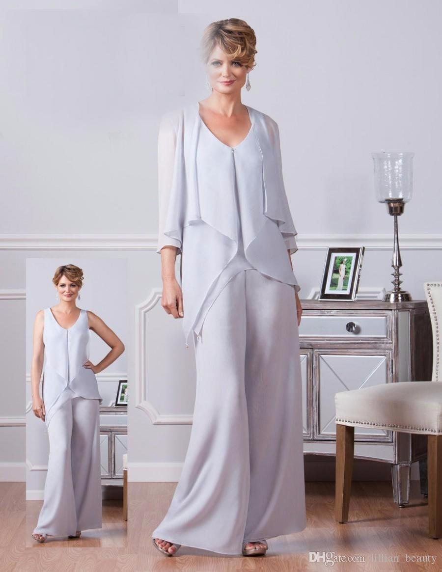 Elegant Chiffon Pant Suits Wedding Guest Dresses Mother Of The ...