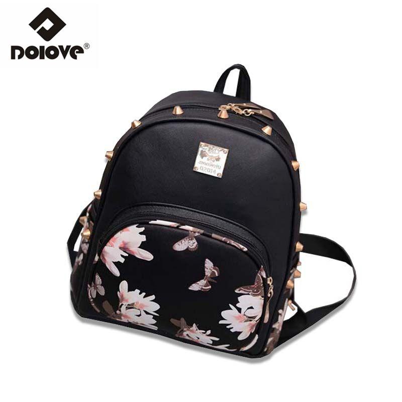 b99e23842e8 Wholesale- DOLOVE New 2016 Korean Fashion Printing Butterfly Backpack  Leisure Travel Bag Women Bag Women School Bags