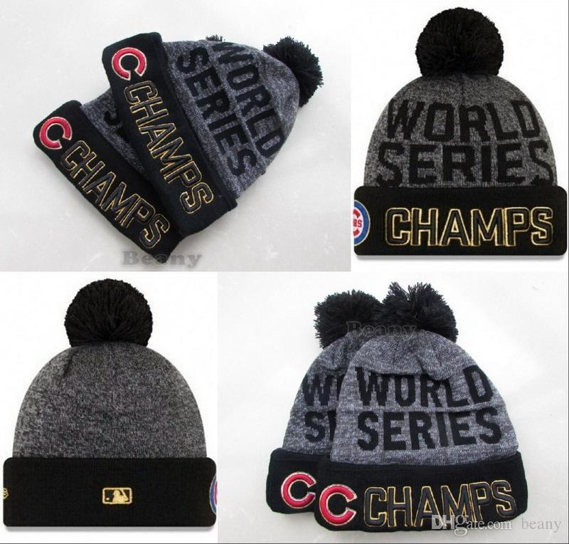 World Series Cubs Beanies Champs Pom Knit Hats For Men Women Sports Winter  Wool Skull Caps Slouchy Beanie Skull Cap From Beany d20457ff121