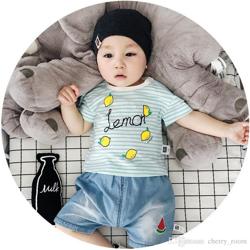 2018 Ins Baby Clothes Stripe Lemon Short Sleeve Boys Tee