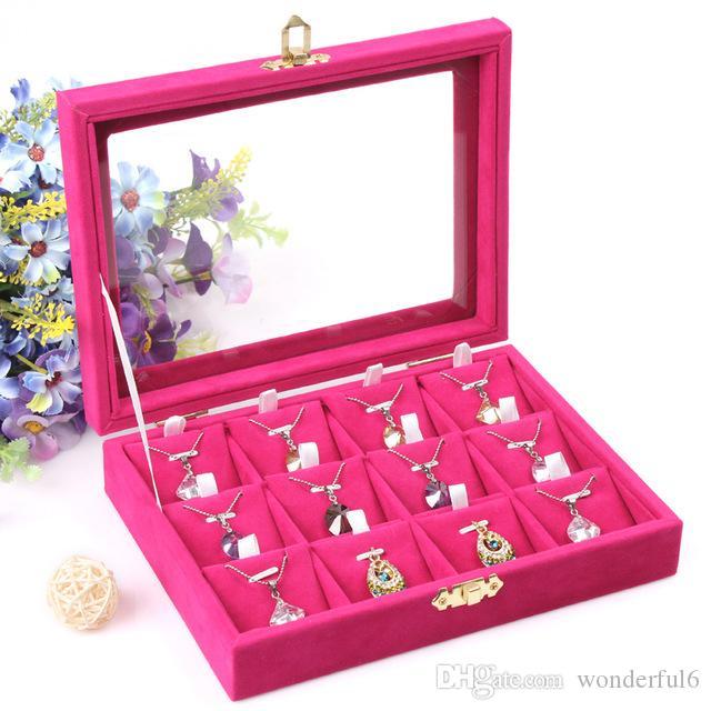 Scatola di immagazzinaggio dei monili di alta qualità Collana pendenti Collana portacandele dell'orecchino Accessori gioielli Vetrina con coperchio in vetro