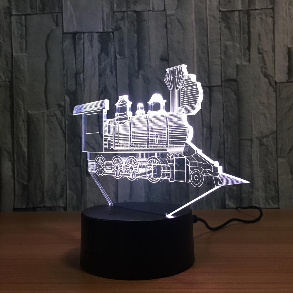 3D Train LED Lamp 7 RGB Colorful Lights USB Powered AA Battery Bin Touch Button Wholesale Dropshipping