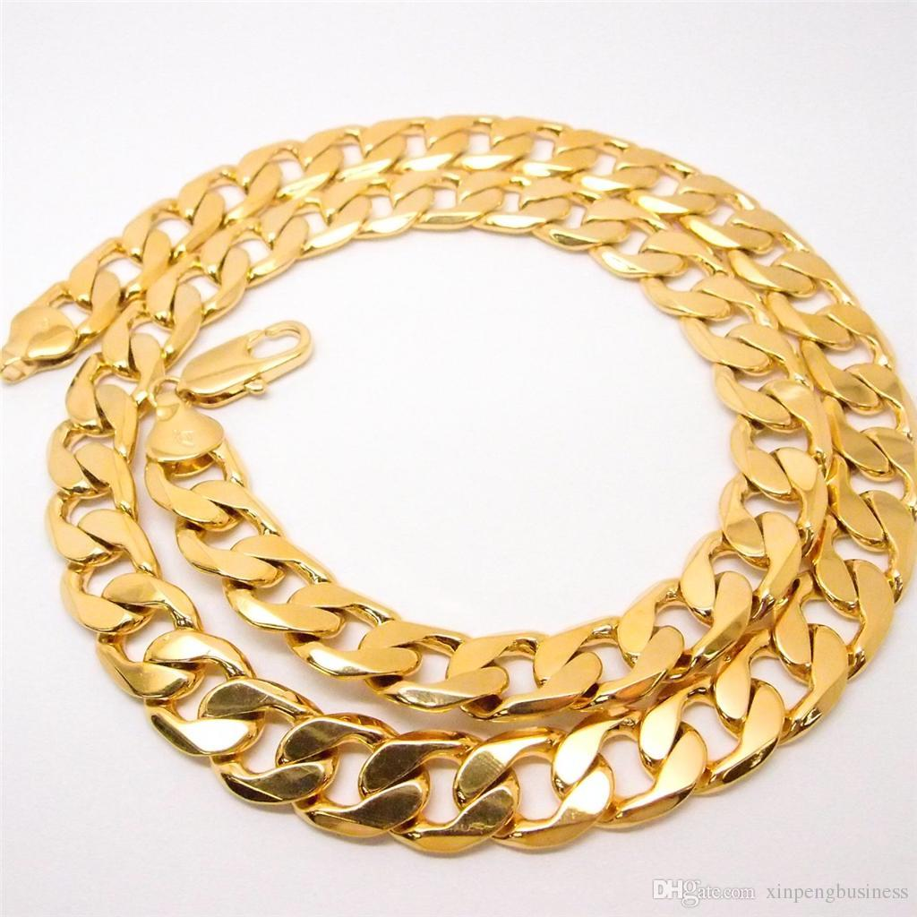 """24"""" 12mm 24k yellow gold filled men's necklace curb chain jewelry STAMPED 24k"""