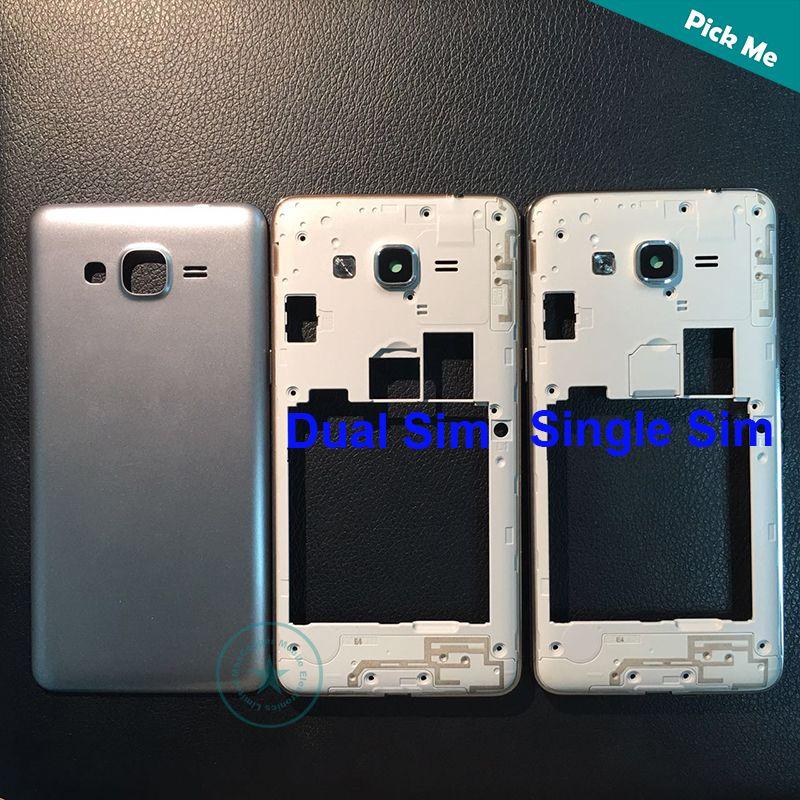 De calidad superior para Samsung Galaxy Grand Prime SM-G531 G531 G531F marco medio bisel + tapa de la batería de la puerta trasera de es