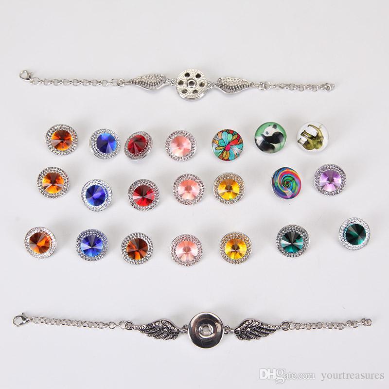 Кристалл крылья ангела браслеты браслеты Античное серебро DIY имбирь защелки кнопки ювелирные изделия 2017 новый стиль браслеты