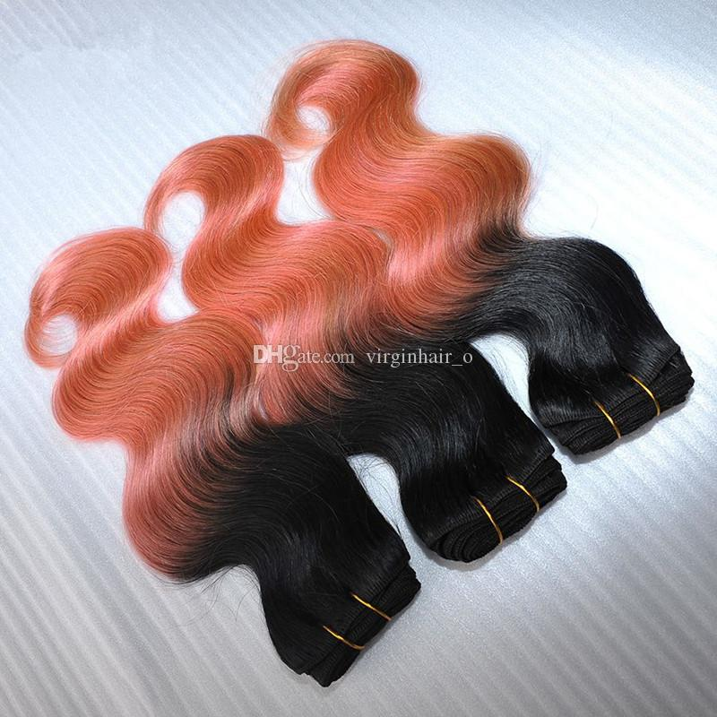 New Sale 9A Rose Gold Ombre Human Hair Extensions Two Tone 1B Pink Ombre Body Wave Virgin Hair Weave Weft Bundles