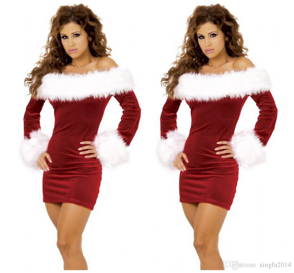 Sexy Christmas Dress Women Adult Red Long-sleeve Strapless Party Dress Christmas Festival Clothes Off Shoulder Plus Size M-XL