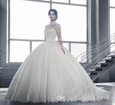 Indivduation Applique Long New Style Tulle Wedding Dress Long Sleeve