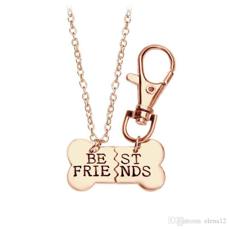 2017 Gold Silver BEST FRIENDS Pendant Necklace pet dog bones jewelry BFF Necklace 2 part dog bones necklace and keychain 161852