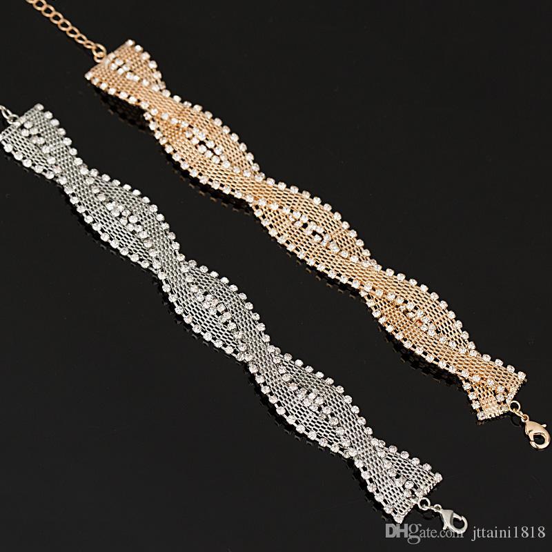 La ragazza un regalo Matrimonio Bracciali Braccialetti Nuovo arrivo stella piena super lucido strass cristallo argento signore catene di collegamento