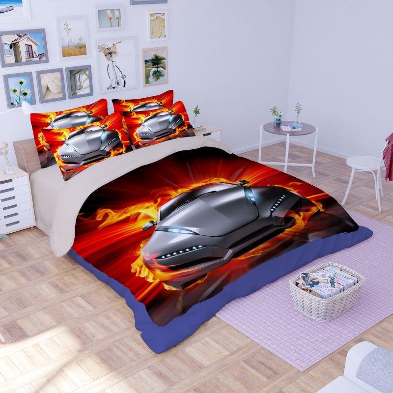 3D voitures de course Enfants Ensemble De Literie Housse de Couette Taie d/'oreiller Couette//Duvet Cover