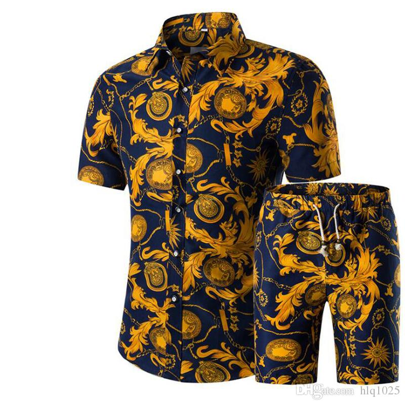 New Summer Men Shirts+Shorts Set Casual Printed Hawaiian Shirt Homme Short Male Printing Dress Suit Sets Plus Size