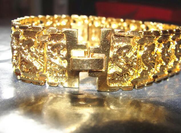 4 stil Wählen Sie neue MEN 24 Karat GELB GOLD GEP SOLID FILL GP ARMBAND Mode Männer Gold Armband 8