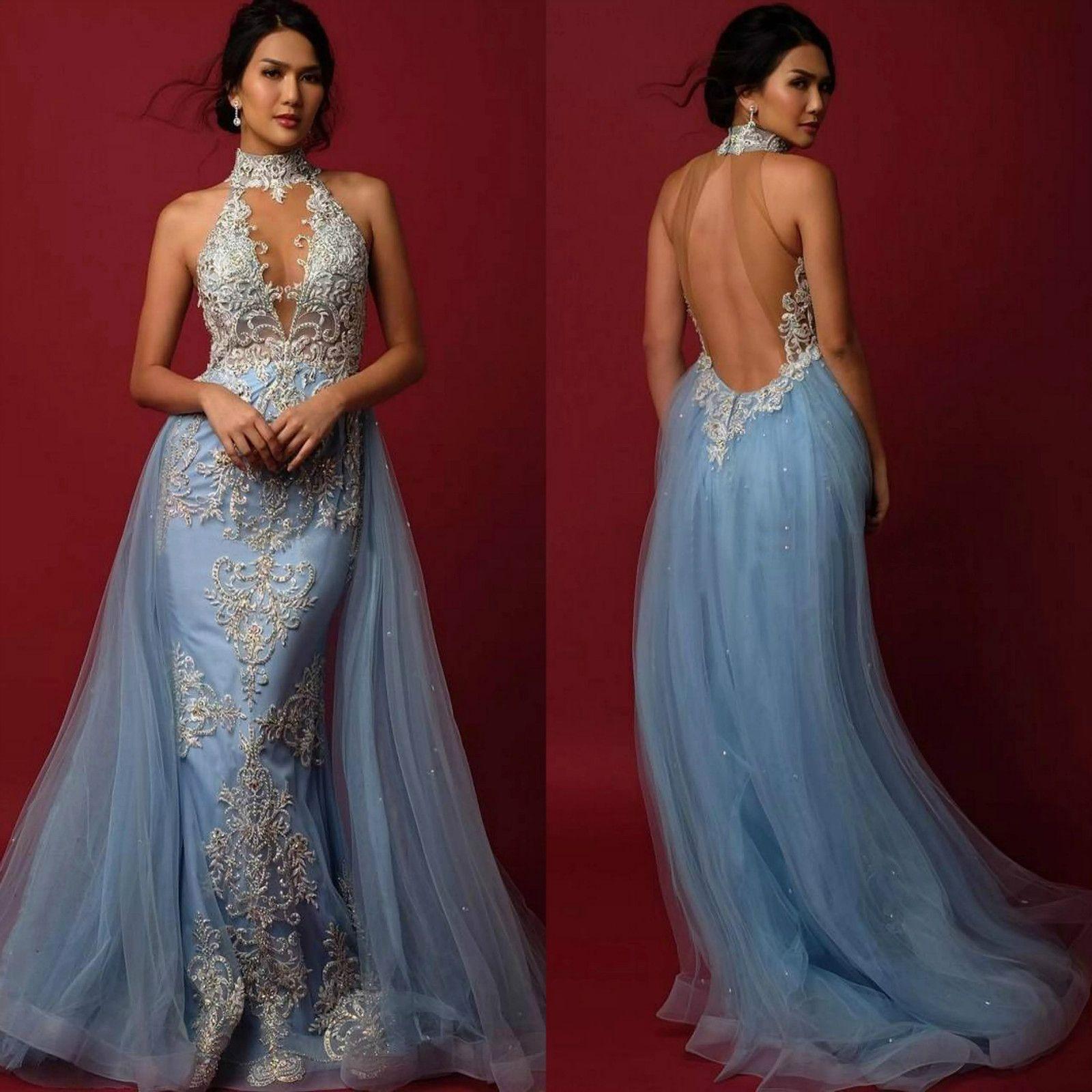 High Neck Light Blue Illusion Formal Dresses Evening Wear Applique