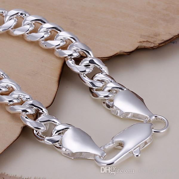 новенькие 10M вбок - креветка пряжки мужской 925 серебряный браслет 20.5x1.0cm DFMWB151, серебро гальваническим браслет ювелирных изделий