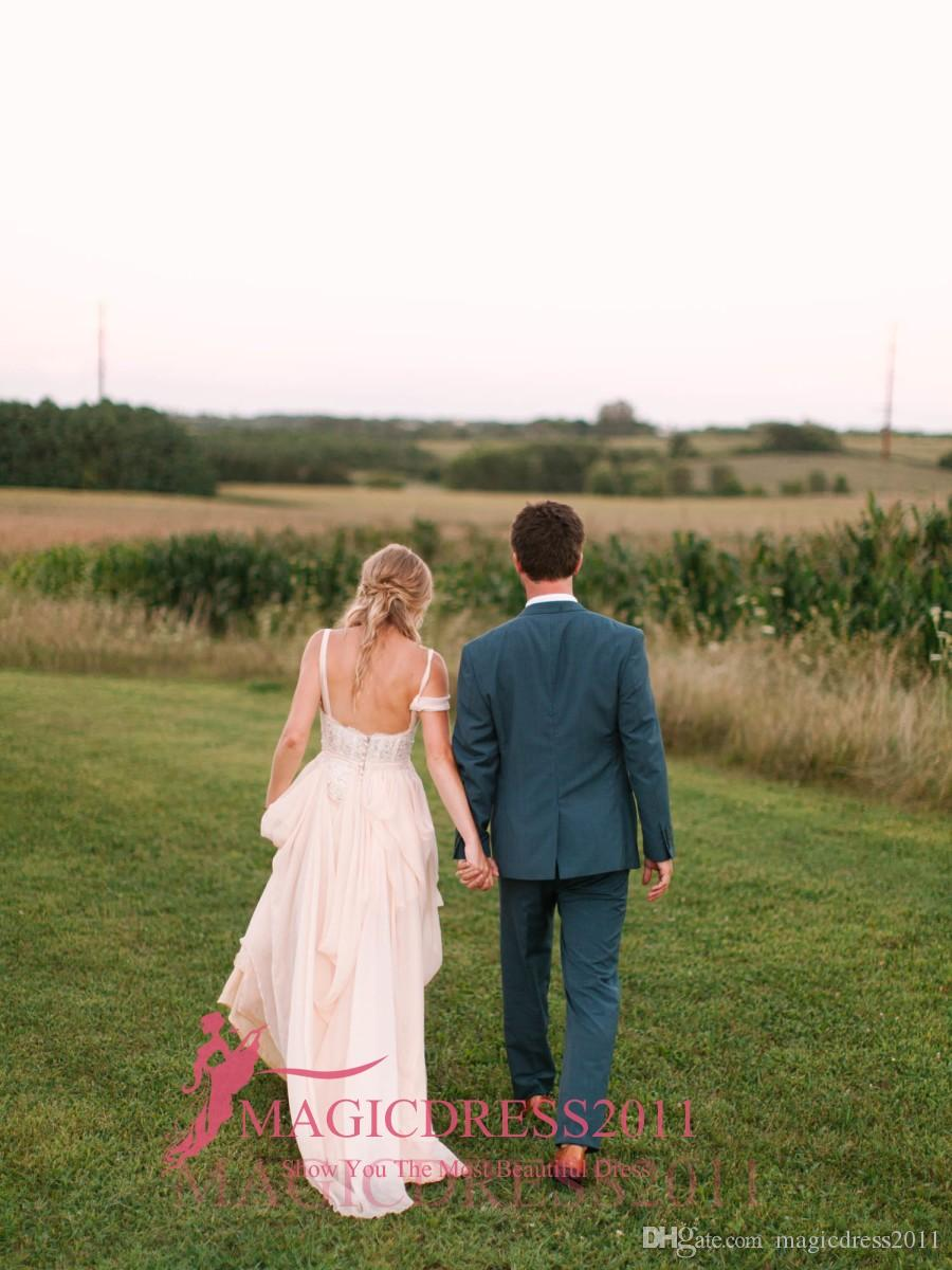 Elegant Beach Boho 2019 Lace Wedding Dresses A-Line Sweetheart Ruffled Pleated Long Chiffon Garden Bridal Gowns for Traditional Wedding