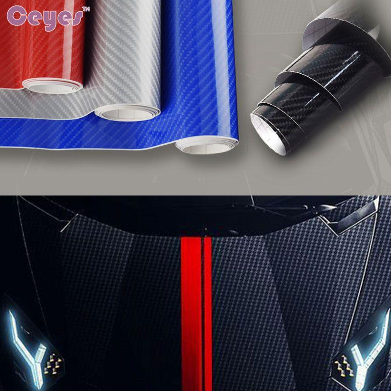 자동차 스타일링 152cm * 50cm 광택 블랙 5D 탄소 섬유 비닐 필름 자동차 포장 공기 무료 버블 DIY 자동차 튜닝 부품 스티커