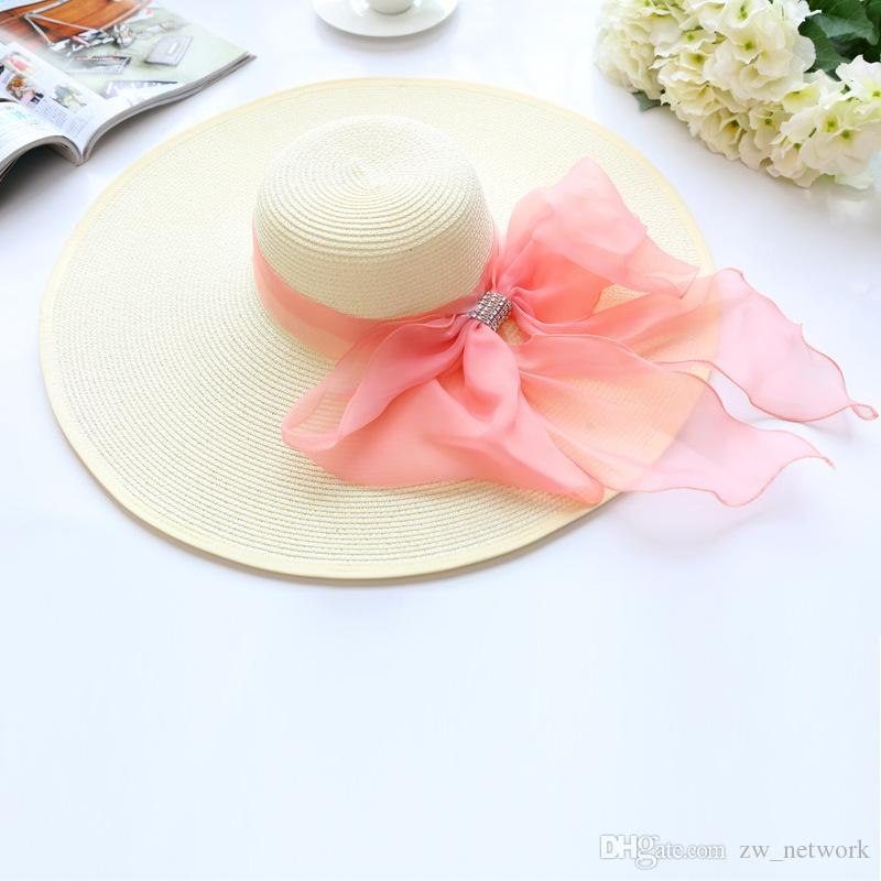 2017 Straw Hats For Women's Female Summer Ladies Wide Brim Beach Hats Sexy Chapeau Large Floppy Sun Caps New style Spring Praia