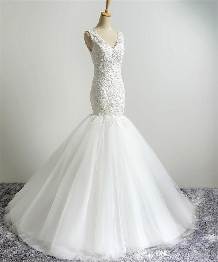 Real Picture 2016 Sexy Mermaid Wedding Dress Online Simple White V-neck Elegant Full Lace Bridal Wear Cheap Wedding Dress China