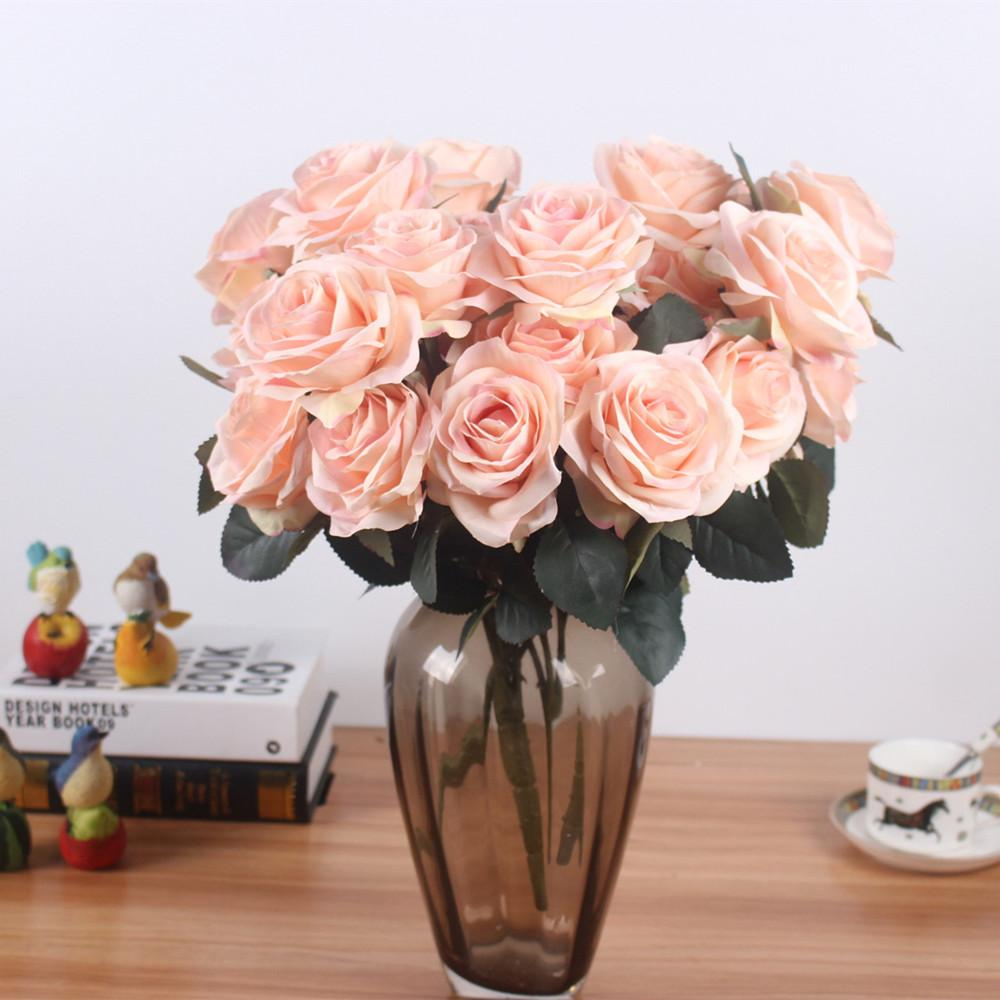 Discount Artificial Silk 1 Bunch French Rose Floral Bouquet Fake