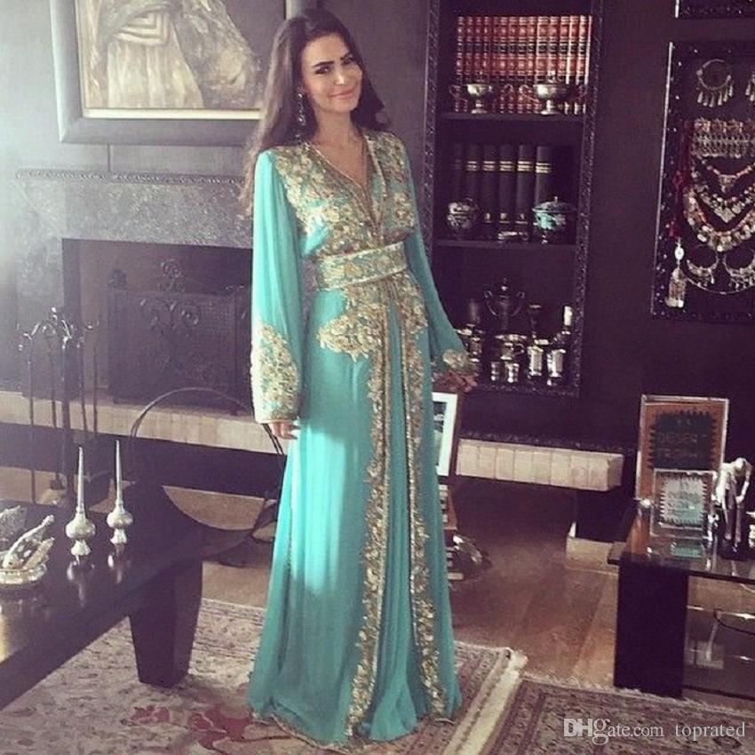 Dubai Vestidos de noche musulmanes de manga larga Elegante gasa Vestidos formales árabes con apliques Vestido largo de madre de la novia Apliques dorados