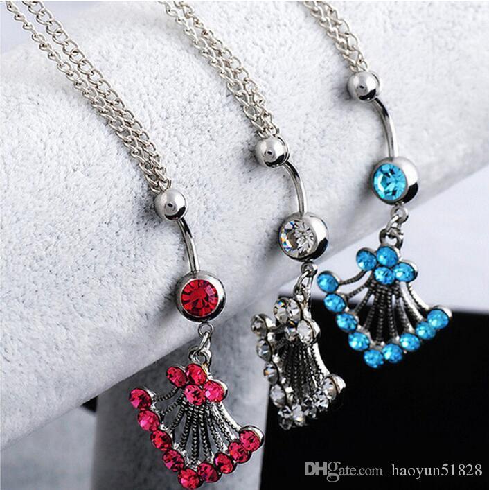 Sexy anillo del ombligo con diamante cintura cadena danza del vientre acero inoxidable cadena umbilical piercing joyería