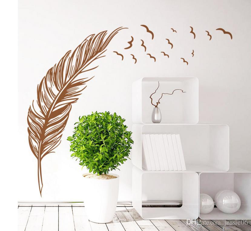 Uccelli battenti Adesivi murali piuma Adesivi murali camera da letto rimovibile Home Decalcomanie Murale Art Decor Decorazioni matrimoni sfondo 47