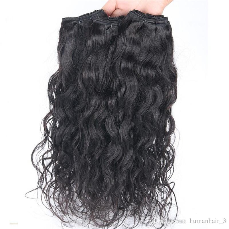 Fasci di capelli bagnati ed ondulati con chiusura in pizzo Capelli brasiliani 3 pacchi con chiusura in pizzo nodi candeggiati onda d'acqua trame di capelli umani