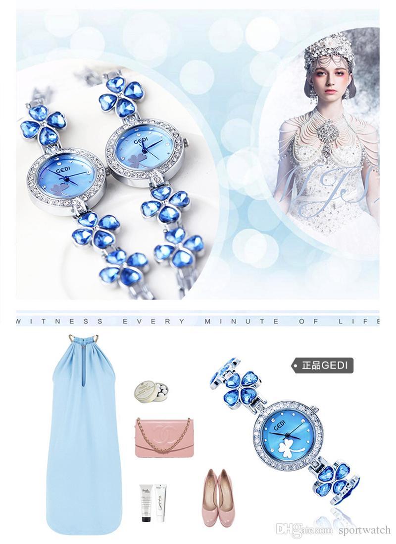 New Style Women Casual GEDI Quartz Watch Flora Print Series Ladies Quartz Wrist Watches Lady Fashion Small Dial Waterproof Watches