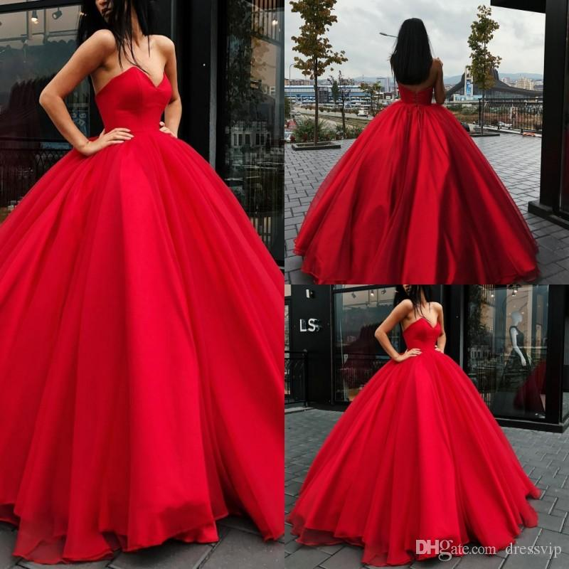 Red Sweetheart Ball Gown Prom Dresses Long Floor Length Satin