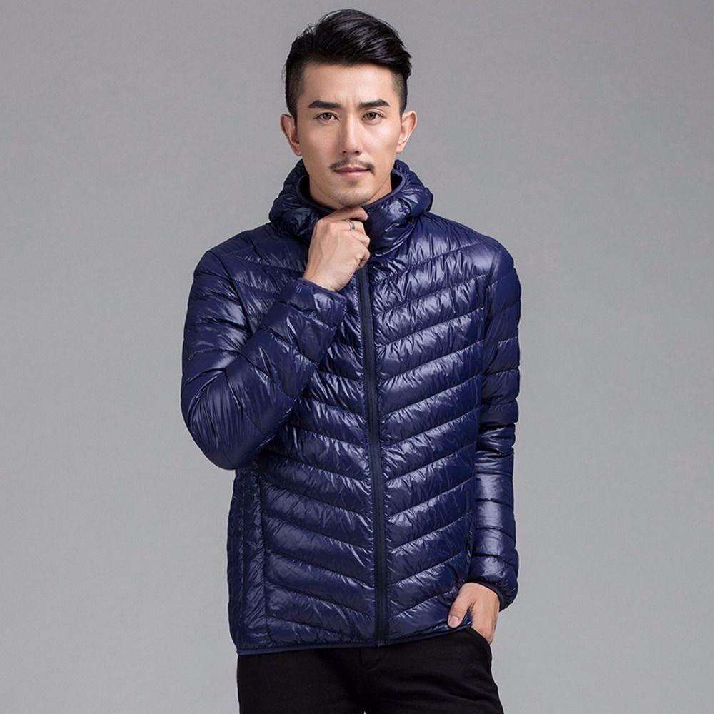 2017 Men Light Weight Hooded Down Jacket Puffer Padded Quilt Coat ...
