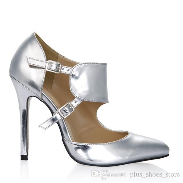 2017 Silver Women Pumps Dress Shoes Buckle Strap High Heels Pointed Toe Ladies Party Shoes Real Image PU Leather Shoes