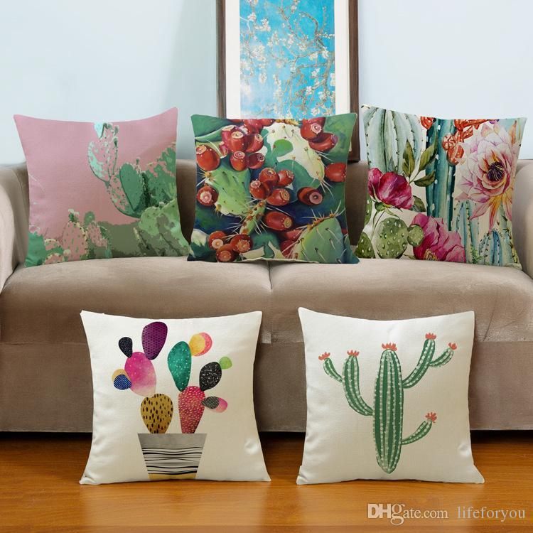 Tropical Plant Cactus Decorative Pillow Creative Home