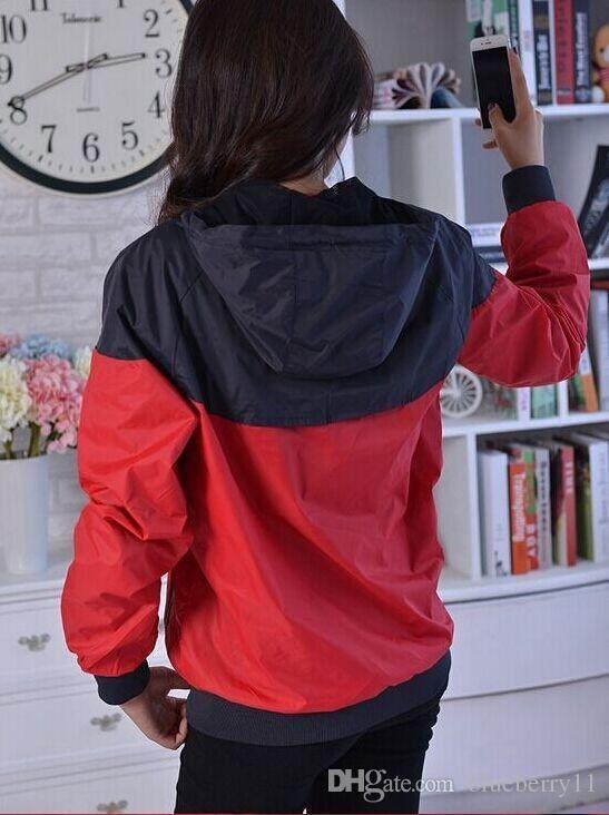 Envío gratis otoño fino windrunner hombres mujeres ropa deportiva de alta calidad tela impermeable hombres chaqueta deportiva moda cremallera con capucha más el tamaño 3XL