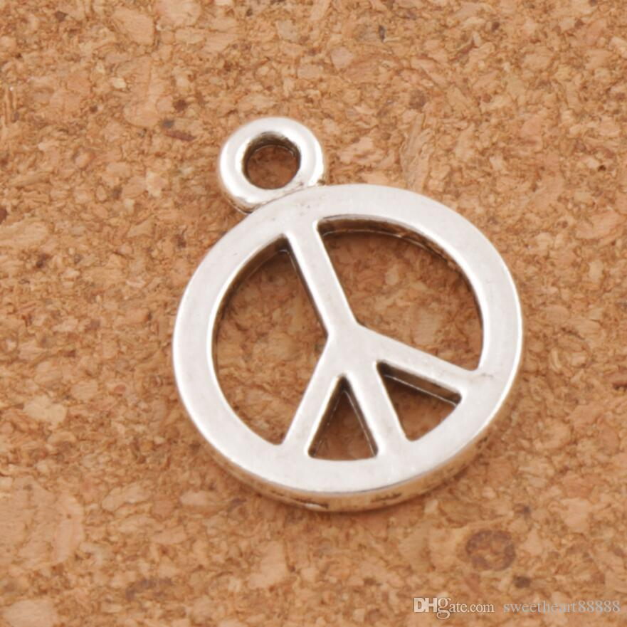 Smooth Peace Sign Charms Pendants 200pcs/lot Antique Silver Small Jewelry DIY L246 18.2x14.2mm