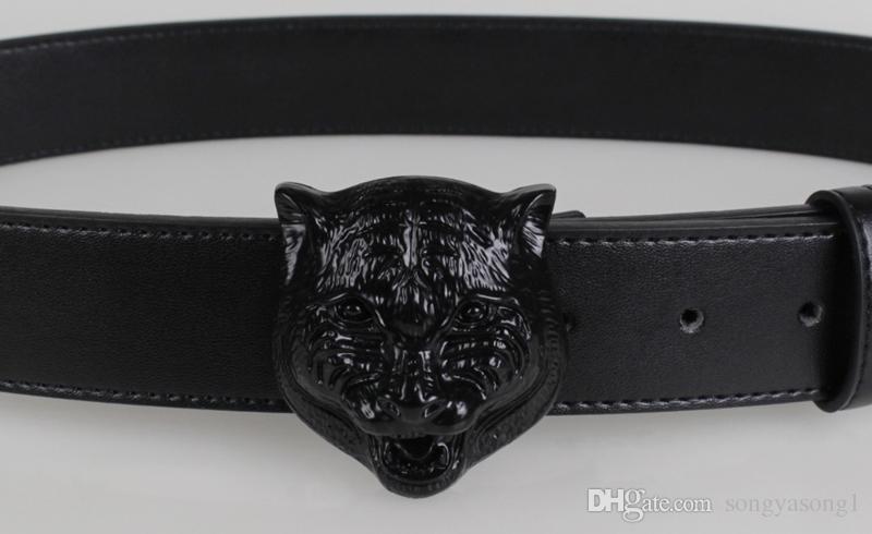 Высокое качество мужской дизайнер мужские Тигр головы лицо шаблон мужской гладкой пряжки мужские ремни из коровьей кожи кожаный ремень для мужчин